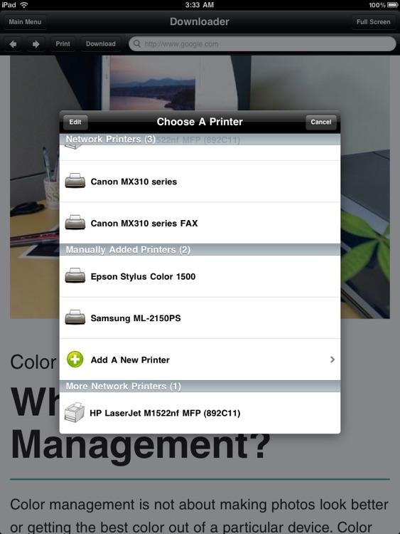 Printing for iPad Printer Verification