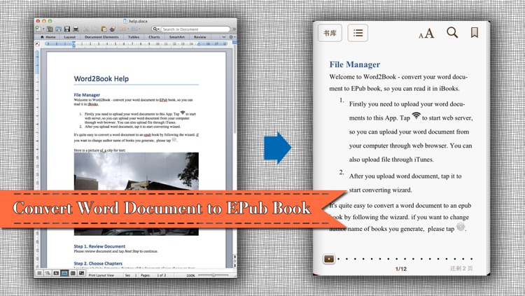 Doc2Book - Convert .docx & .doc (Microsoft office word document) to iBook epub book