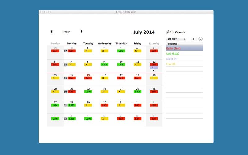 Roster-Calendar Screenshot - 1