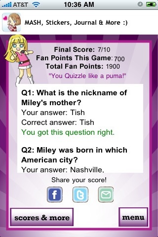 Miley Cyrus Quizzle™ screenshot-3