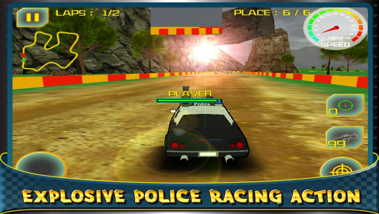 3D Destruction By Police Car - Racing The Big Drift Race