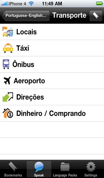 Portuguese to English Voice Talking Translator Phrasebook EchoMobi Travel Speak LITE