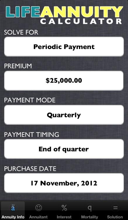 Life Annuity Calculator