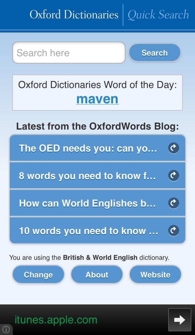 Oxford Dictionaries Quick Search Screenshot