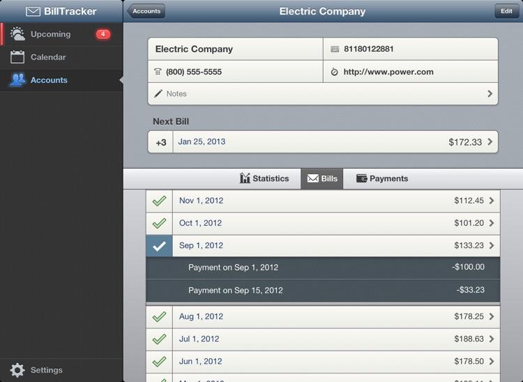 BillTracker for iPad screenshot-4