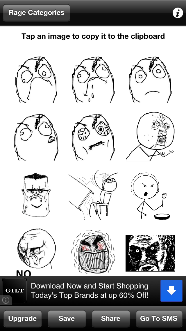 RageToSMS Lite - Rage Faces for Texting and SMS screenshot one