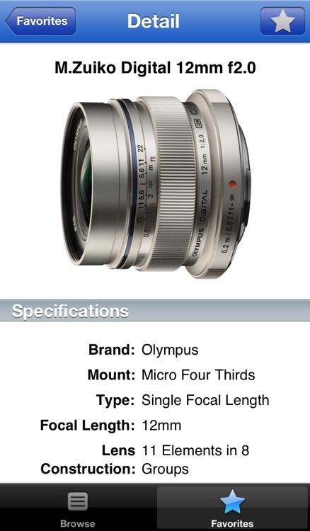 Olympus Lens Buddy - Lenses for Olympus cameras screenshot-3