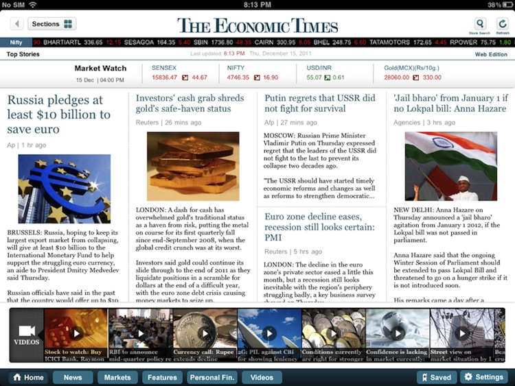 The Economic Times for iPad screenshot-0
