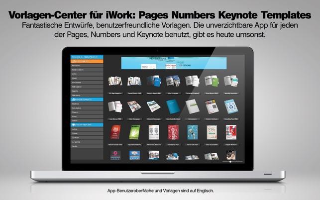 Vorlagen Center für iWork: Pages Numbers Keynote Templates im Mac