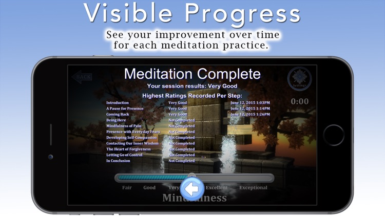 """Mindfulness Meditation with Tara Brach, Phd. Join the Mindfulness Revolution! Use your IomBlue and new """"Mindfulness Meter"""" to master Mindfulness quickly and effectively. Nine guided meditations + bonus. Your IomBlue will track and show your progress. screenshot-4"""