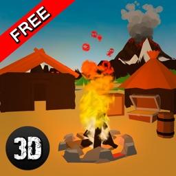 Pixel Volcano Island Survival Simulator 3D