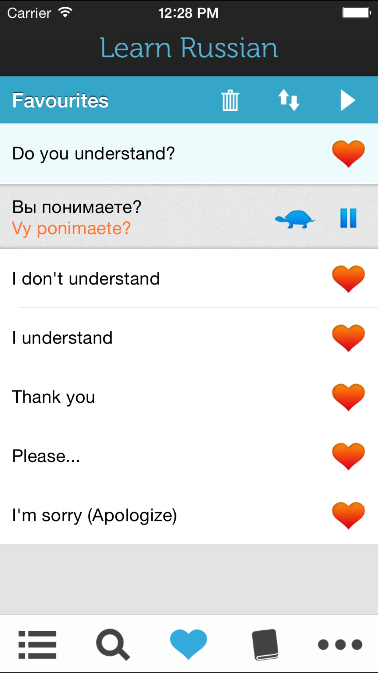 Screenshot do app Learn Russian - Phrasebook for Travel in Russia, Moscow, Saint Petersburg, Novosibirsk, Yekaterinburg, Nizhny Novgorod, Samara, Omsk