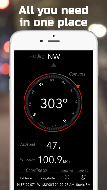 Heading | Compass, Altimeter, Barometer, Location, Sunrise & Sunset screenshot-3