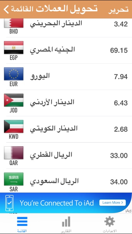 برنامج اسعار صرف العملات العالمية و حساب المصاريف