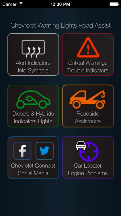 App for Chevrolet Cars - Chevrolet Warning Lights & Road Assistance - Car Locator screenshot-0