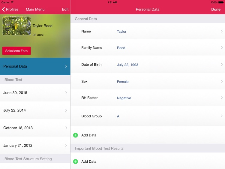 My Blood Test for iPad
