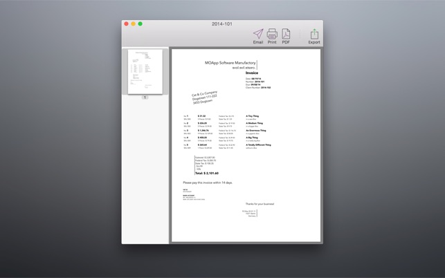 Bill Free Invoicing Made Painless And Fun On The Mac App Store - Make your own invoice free eyeglasses online store