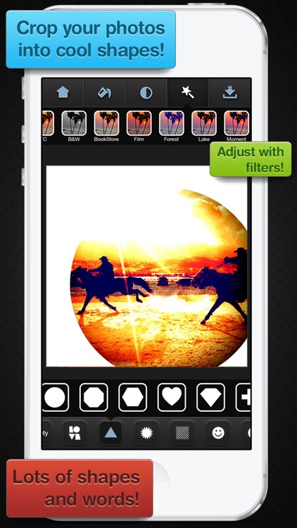 Insta Shapes - Snap pics & frame photos to silhouette symbol & alter for posts on IG, Fbook, flicker, tagged & tumblr