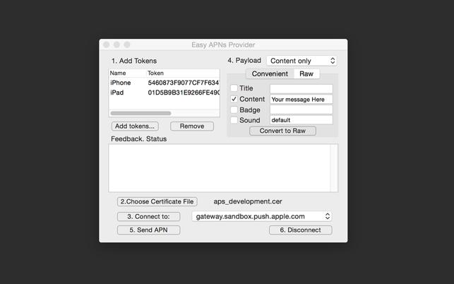 Easy APNs Provider - Push Notification Service testing tool