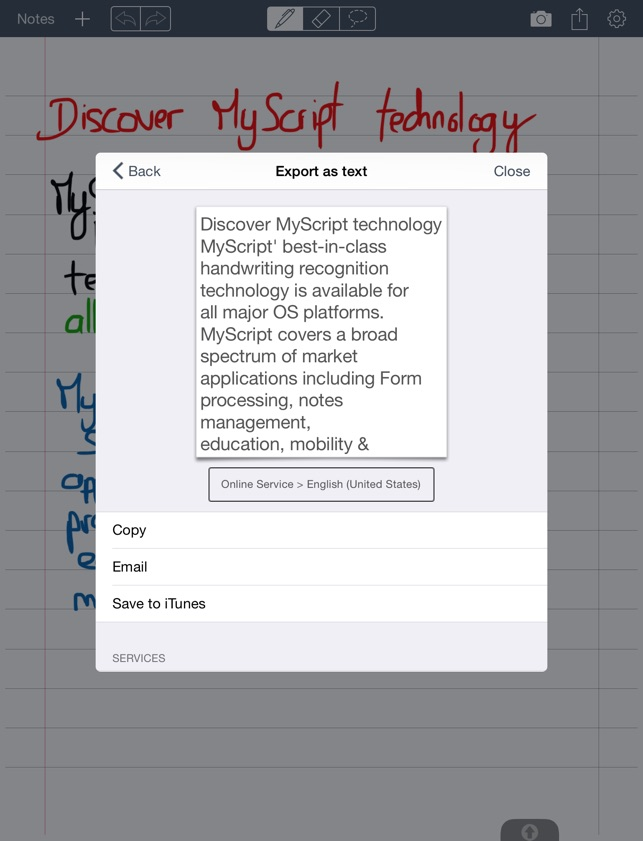 MyScript Memo Screenshot