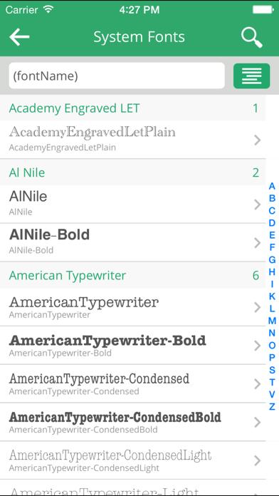 Fonts + screenshot three