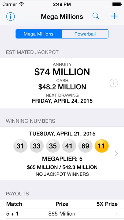 Mega Millions + Powerball - lottery games in the US with winning number results, lotto jackpots and prize payouts