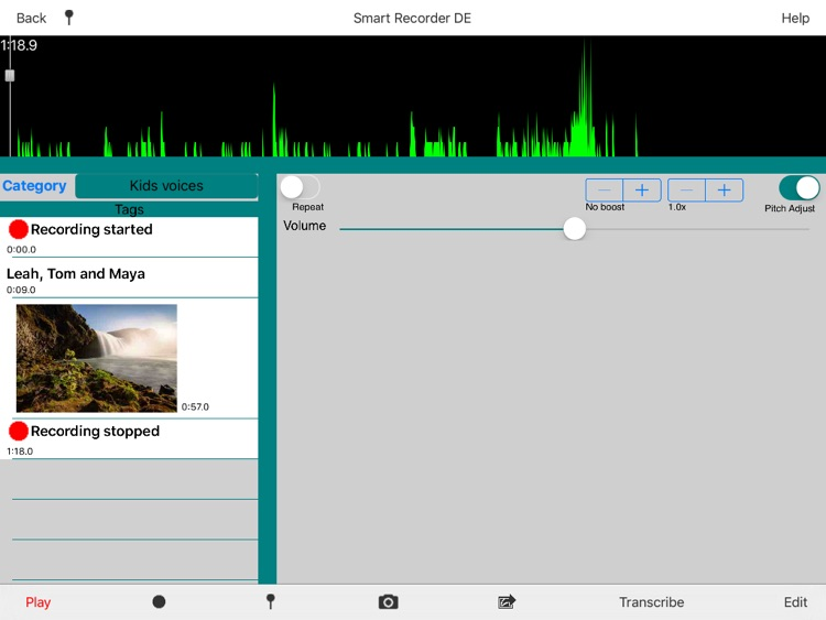 Smart Recorder DE Classic for iPad - The music and voice recording app