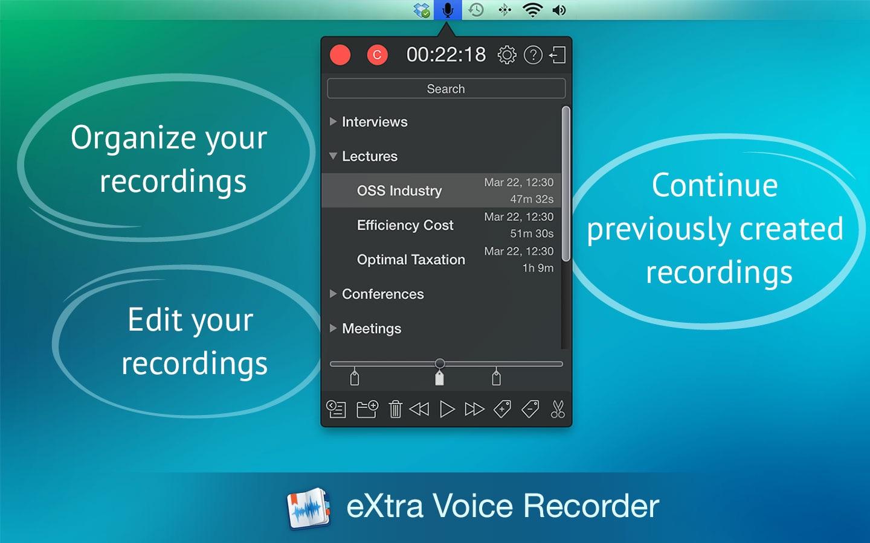 Screenshot do app eXtra Voice Recorder