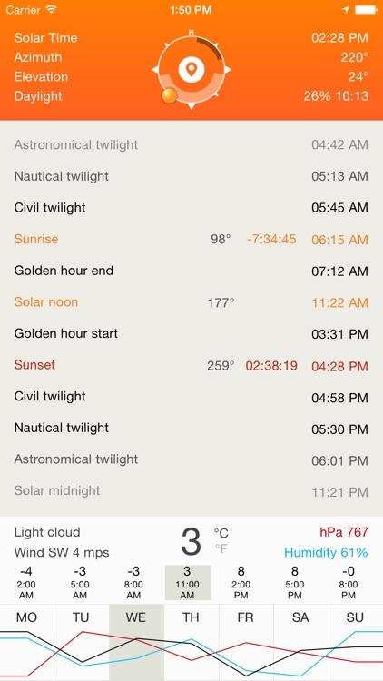 Deluxe Sun - sunrise, sunset, twilight and compass screenshot-3