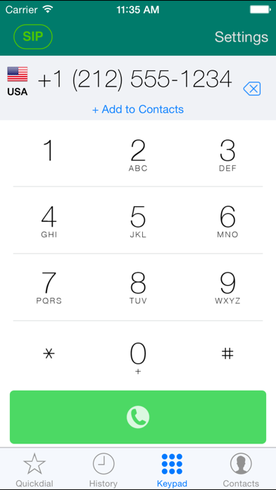 Screenshots of Acrobits Softphone for iPhone