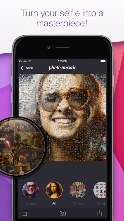Photo Mosaic - touch and turn your selfie into a masterpiece and create amazing mosaics