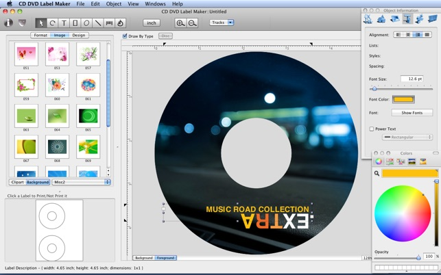 Create professional CD and DVD disc labels on Mac OS X