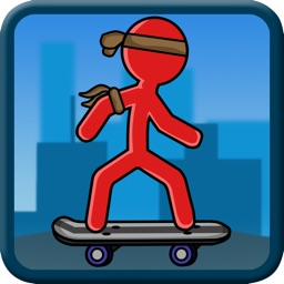 Stick-Man Skate-boarding City Sport Block Jump
