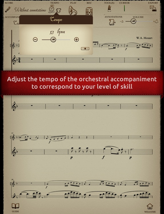 Play Mozart – Concerto for Flute and Harp K299 (interactive sheet music)