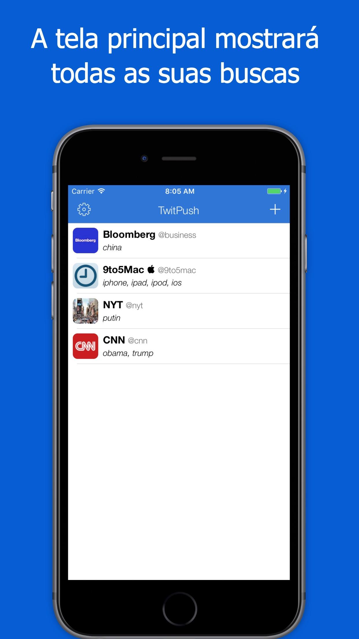Screenshot do app TwitPush