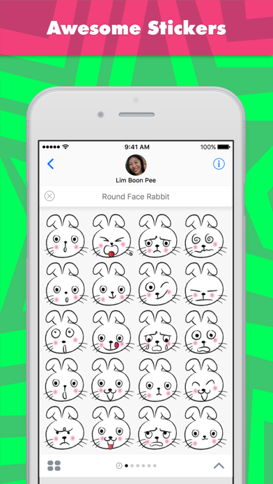 Round Face Rabbit stickers by wenpei