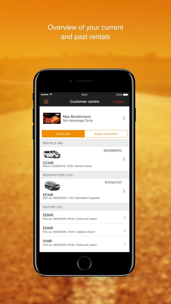 Sixt rent a car Screenshot