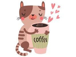 Invite someone out to coffee in a way they will never forget with Cats and Coffee Sticker Pack for iMessage