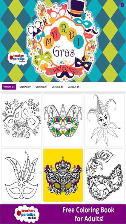 Coloring Book for Adults: Mardi Gras Fat Tuesday