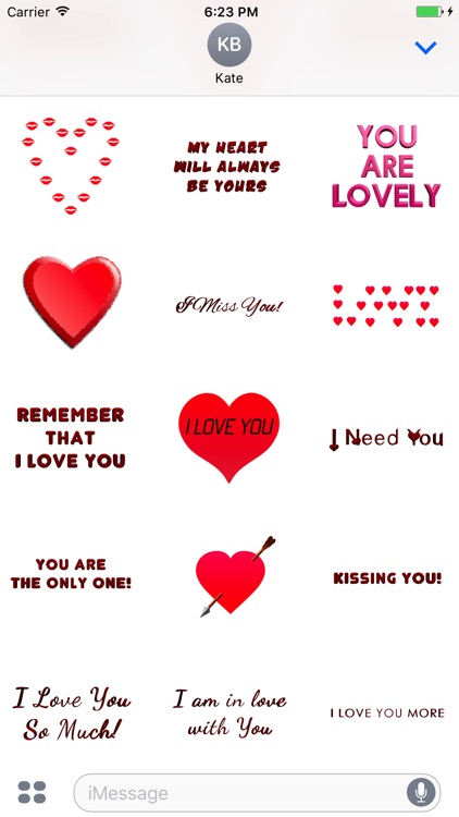 Love Stickers for iMessage, Animated Hearts, Text screenshot-3