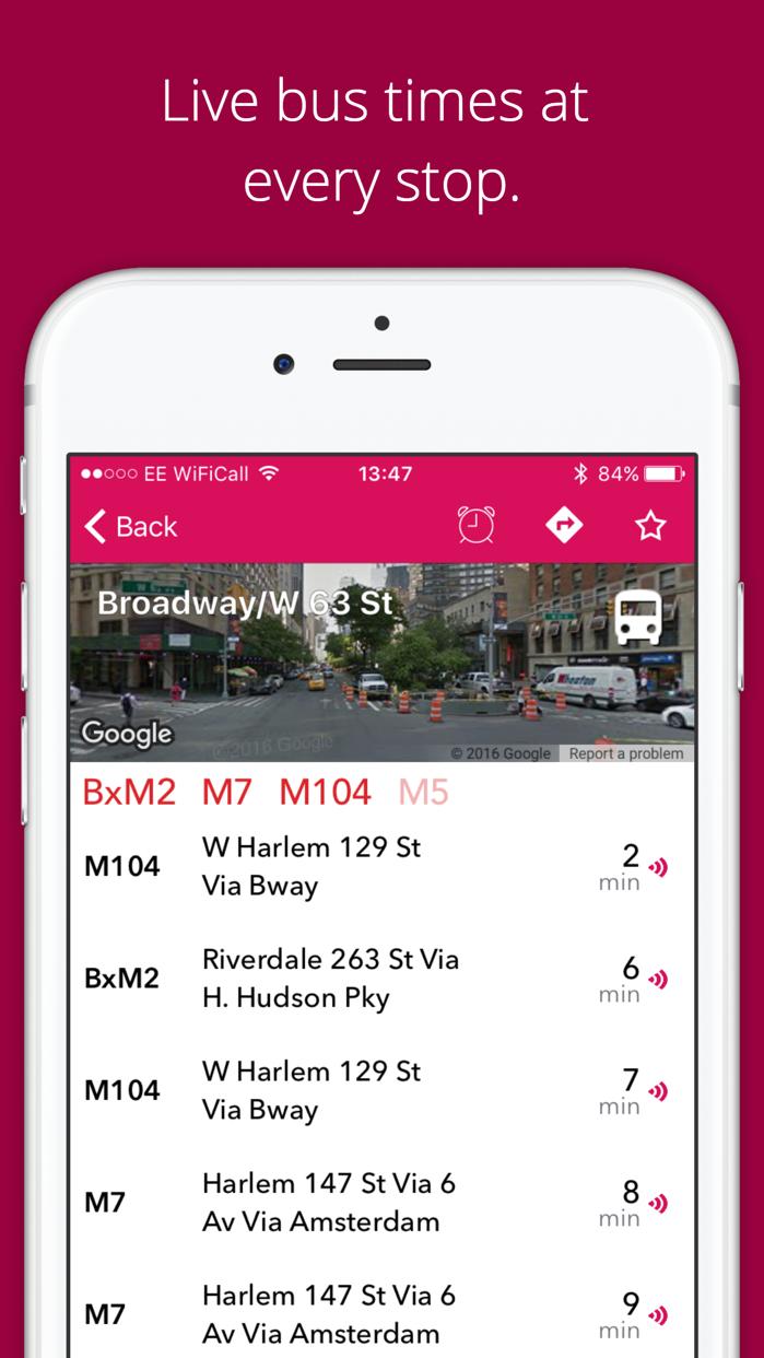 NYC Bus Checker Screenshot