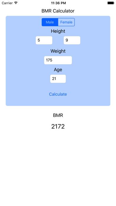 BMR Calculator - Basal Metabolic Rate Calc Resting screenshot one