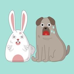Dog & Bunny Animated Stickers