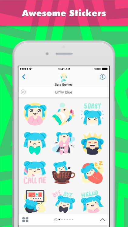 Emily Blue stickers by Sara Gummy
