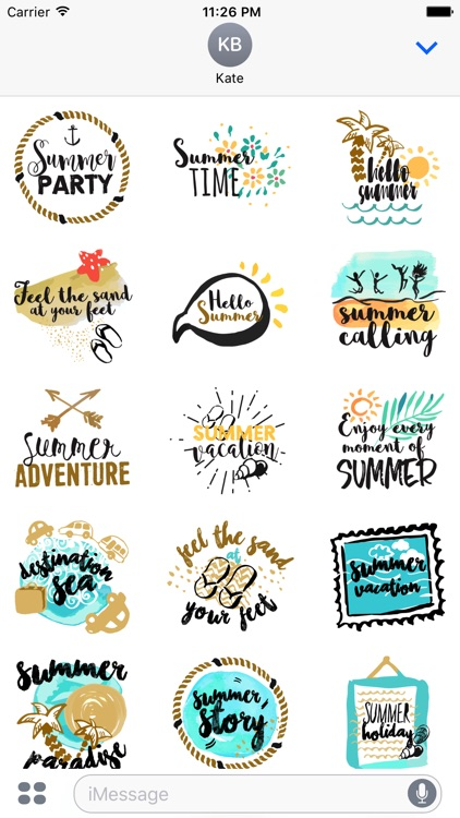 Animated Summer Quote Stickers