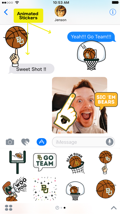 Baylor University Animated+Stickers for iMessageScreenshot of 1