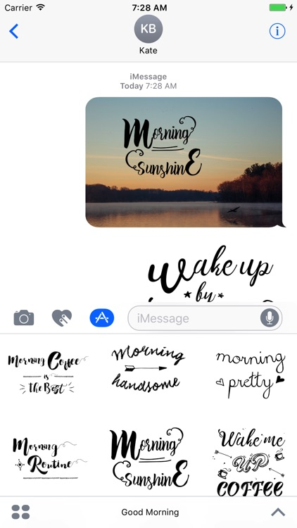 Good Morning Typography Stickers for iMessage