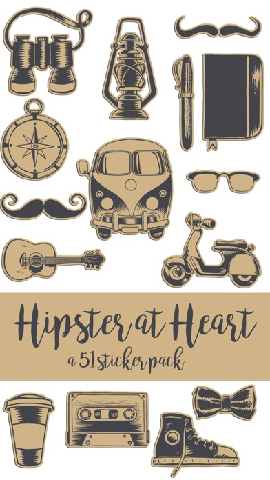 Hipster at Heart Hand Drawn Sticker Pack
