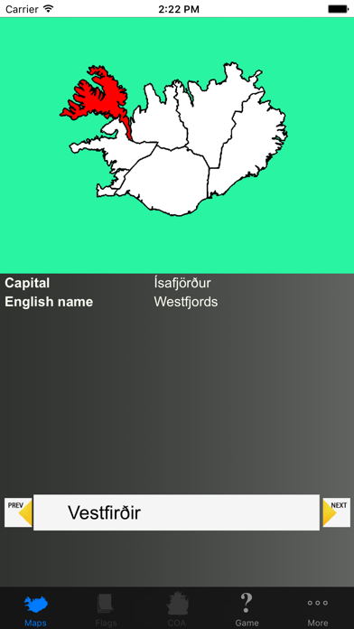 Iceland Region Maps and Capitals