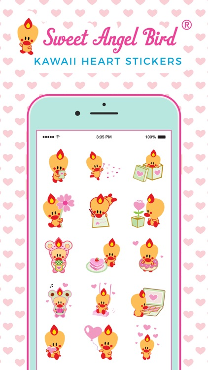 Sweet Angel Bird Kawaii Heart Stickers